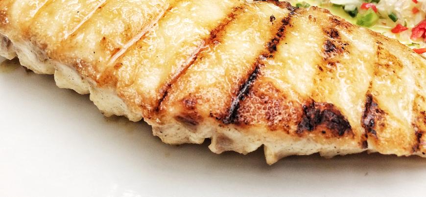 Restaurante Fiesta pan con mero murique al grill