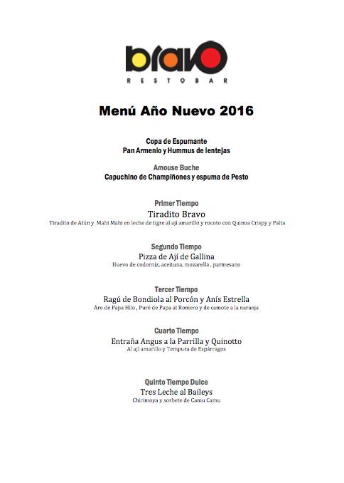 Carta Bravo Menú Año Nuevo Mesa 247