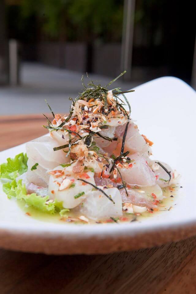 Ceviche al Wasabi, un plato fresco que tienes que probar; Conchas de abanico y pescado blanco en ligera salsa cítrica  al wasabi. osaka