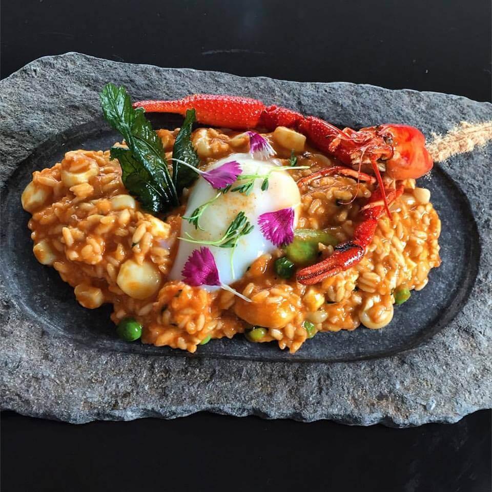risotto de chupe con huevo ponchado mayta